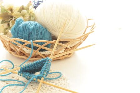 編み物とコピー スペースとツール