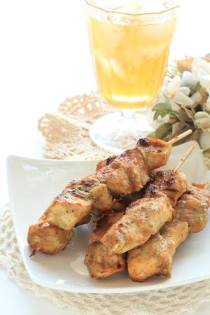 인도네시아 음식, 닭고기 주 (satey) 및 차 스톡 콘텐츠