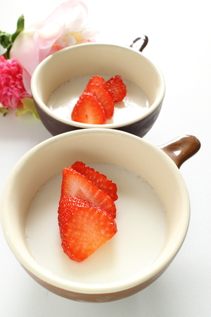 strawberry on gelatin jelly