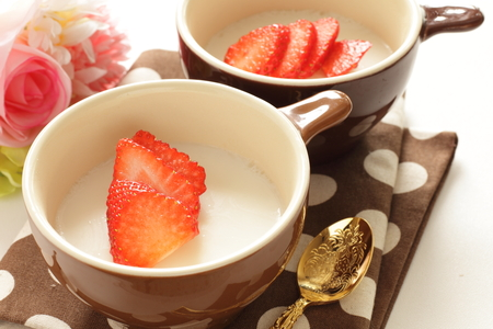 aardbei op gelatine gelei Stockfoto