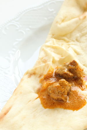 Indian curry, mutton and naan