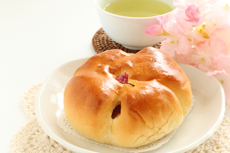 Japanese sweet bun, cherry blossom bread