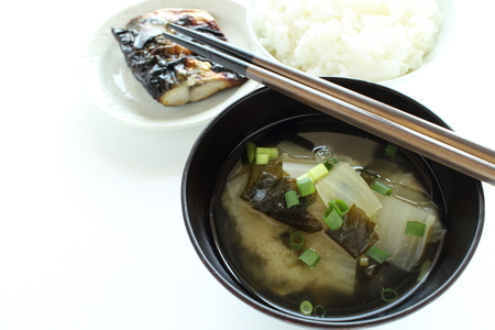 radish and wakame miso soup Stock Photo - 83726347