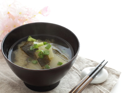 Radish and wakame miso soup