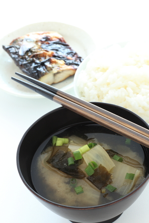 Japanese food, radish miso soup and fish Stock Photo - 84037149