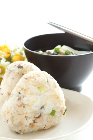 Mackerel rice ball and miso soup Stock Photo