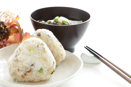 grilled mackerel flake on rice ball and soup