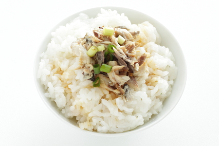 grilled mackerel flake on rice