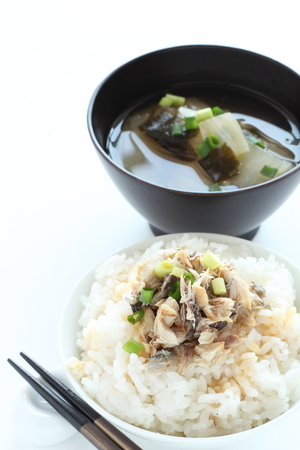 grilled mackerel flake on rice with miso soup