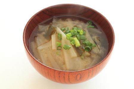 Radish and seaweed Miso soup, Japanese food