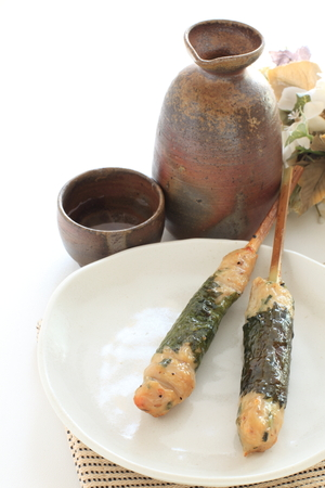 Japanese food, grilled Mince chicken with skewer