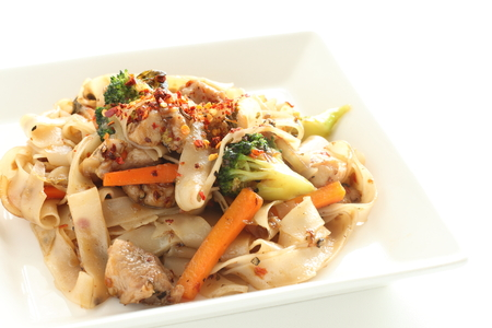 Chinese food, fried rice noodle and chicken Stock Photo
