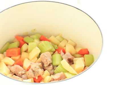 celery and potato with chicken for stew cooking image