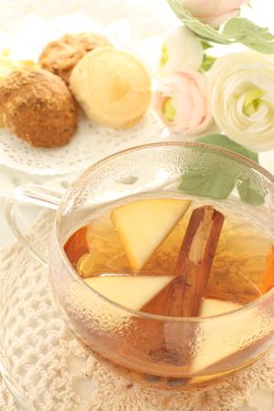 apple and cinnamon tea with cookie