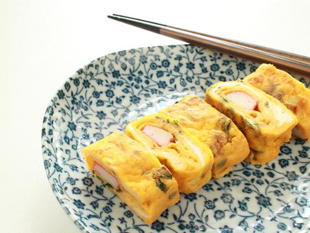 日本食、カニカマと大葉の揚げ春巻き 写真素材