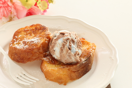 homemade french toast and mint choclate ice cream