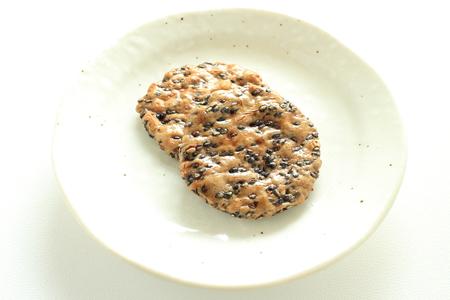 Japanese food, sesame senbei rice cracker