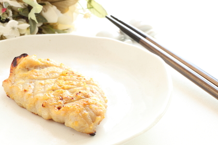Japanese food, grilled miso fish Saikyozuke Stock Photo - 87870093