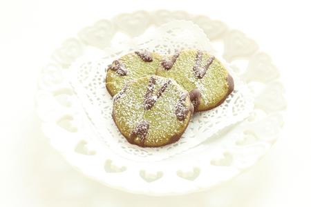 Green tea and chocolate cookie Stock Photo