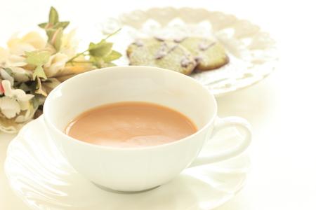 Green tea and chocolate cookie with tea