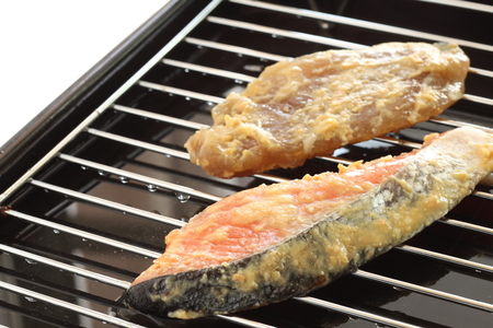 Japanese food ingredient and Miso fish on grill pan Stock Photo - 87632539
