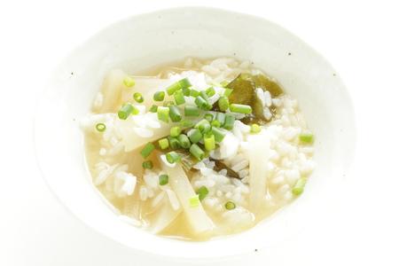 Korean food, radish miso soup with rice