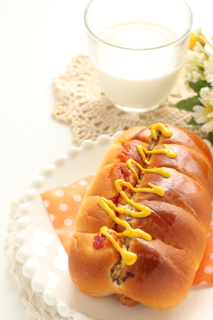 Hot dog bread with milk