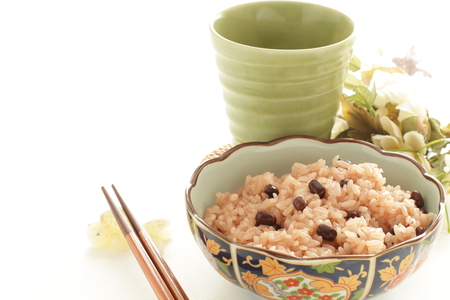 Japanese food, red bean sticky rice Sekihan and tea Stock Photo