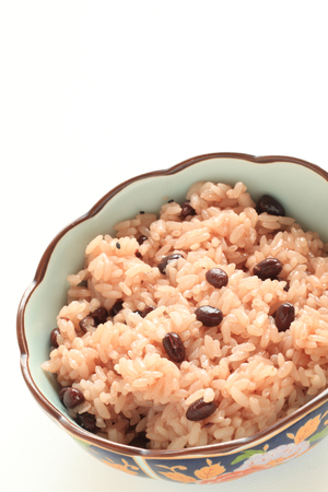 Japanese food, Sekihan red bean sticky rice Stock Photo