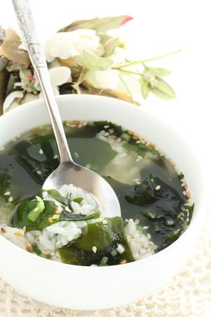 Korean food, seaweed soup and rice