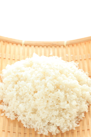 prepared rice on bamboo basket Stock Photo