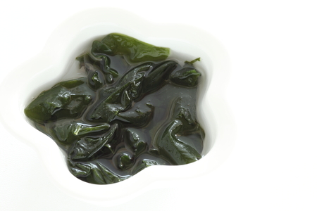dried seaweed Wakame soap in water for prepared food image