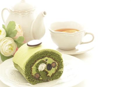black bean and green tea swiss roll with tea