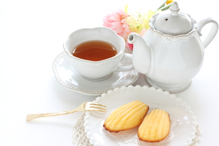 French cookie, madeleine and tea