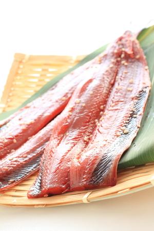 seasoned sesame pacific saury for Japanes food image Stock Photo