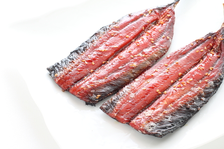 Japanese food, grilled pacific saury Banco de Imagens - 92733236