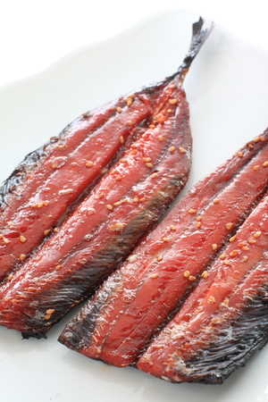 Japanese food, grilled pacific saury