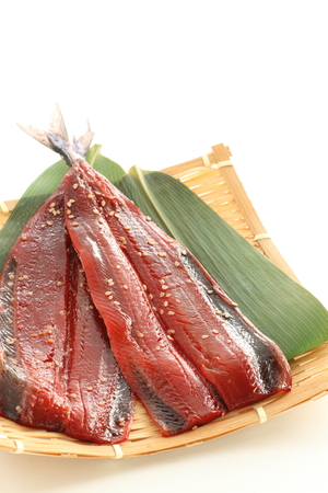 seasoned sesame pacific saury for Japanes food image Banco de Imagens