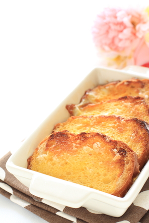 french bread pudding with flower