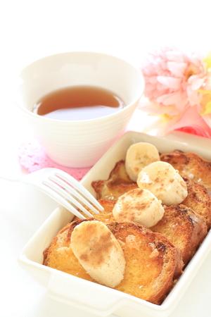 homemade french bread pudding and banana