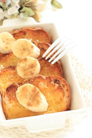 Home bakery, bread pudding and banana Banco de Imagens