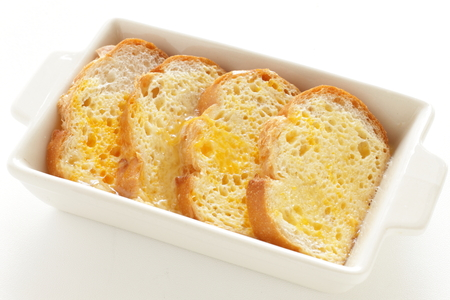Home bakery, prepared egg soaked bread pudding