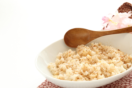 japanese fish flake and rice with soy sauce Stock fotó