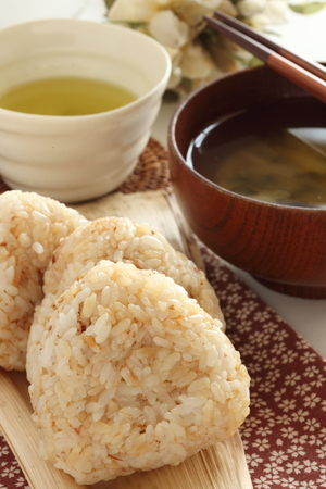 Japanese food, homemade sesame and soy sauce rice ball