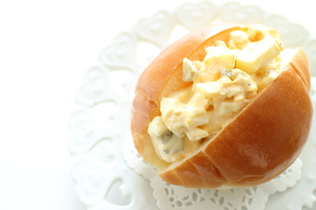 Egg and mayonnaise roll bread sandwich 스톡 콘텐츠