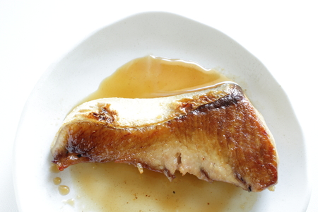 Japanese food, Pan fried yellow tail and soy sauce