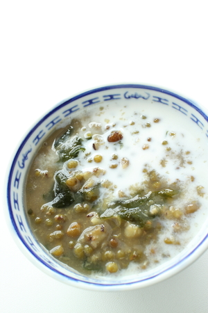 Chinese food, green bean and coconut milk for dessert an image