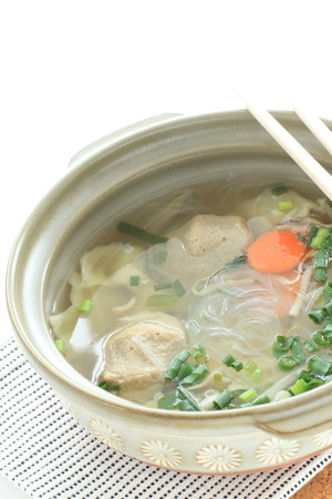 Asian food, glass noodles and fish ball hot pot Stock Photo