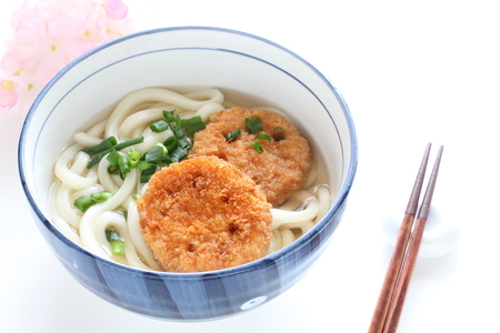 Japanese food, deep fried lotus root on udon noodles