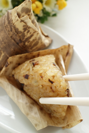 Chinese food, sticky rice in leaf steamed Zongzi